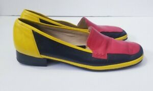 Amalfi By Rangoni Slip On Shoes Size 10.5 AAA Multi Color Block Leather Loafer