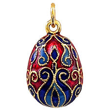 Oriental Pendentif Oeuf style Fabergé, Bijou fantaisie raffiné oeuf-pendentif