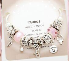 Taurus Bracelet Charm Multi Beaded Zodiac European Bead Murano Glass Rope Chain