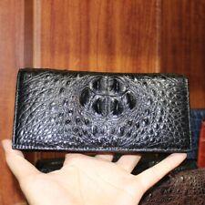 Crocodile Alligator Leather Zipper Black Clutch Long Wallet