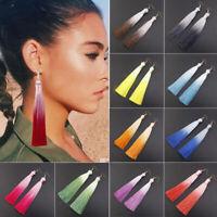 Lady Gradient Chunky Tassel Fringe Bohemian Dangle Earring Women Jewelry Gift