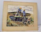 Vintage Large Watercolor African American Workers Railroad Louis Wolchonok