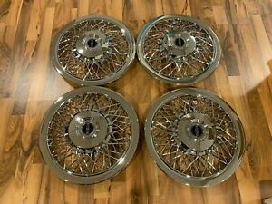 """NEW SET OF 1970-1996 FITS LINCOLN TOWN CAR WIRE SPOKE 15"""" Hubcaps WHEELCOVERS"""