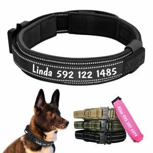 Personalised Tactical Military Dog Collar Large Dogs K9 Pitbull Training Collar