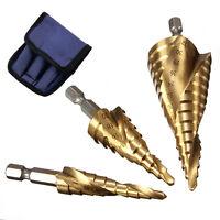 3Pcs Large HSS Speed Steel Step Cone Drill Titanium Bit Set Hole Cutter BIT KP