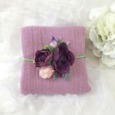 Sweet Lilac Newborn Photo Prop Cheesecloth Wrap and Eggplant Purple, Pink Flower
