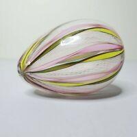 Hand Blown Egg Shaped Paperweight Latticino Ribbon Art Glass Murano Style