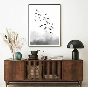 Bird Flying B&W Watercolor Paint Print Premium Poster High Quality choose sizes