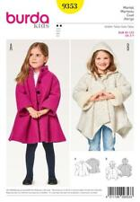 BURDA KIDS SEWING PATTERN CHILD'S A-LINE COAT SIZE 2 - 7 YEARS 9353