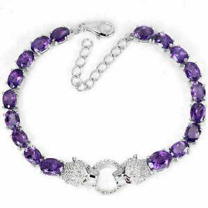 Bracelet Purple Amethyst Genuine Gem Sterling Silver Tiger 6 3/4 to 7 3/4 Inch