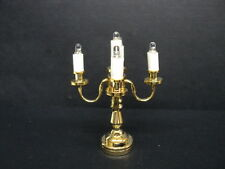 Dollhouse Candelabra/ Brass/ 5-Arm/ Battery Operated