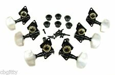 6pc. Black Open-Gear Guitar Tuners Machine Heads - 3 left / 3 right
