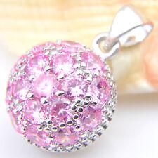 Lady Multi Gems Natural Sweet Pink Topaz Gemstone Silver Necklace Pendants
