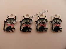 4 BRELOQUES METAL ARGENTE CHAT NOIR ROSE -  CREATIONS BIJOUX PERLES CHARMS