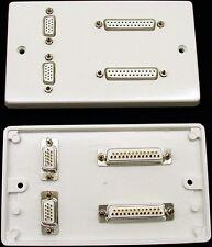 AV Placa de pared, 2 X Vga & Serial RS232 DB25 25-way D zócalos (hembra) Para Soldadura