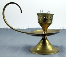 Brass Ornate Decorative Candlestick Holder Lamp with Handle - Made in India