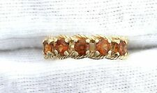 10Kt REAL Yellow Gold Twisted Rope 3.5mm Round Madagascar Hessonite Ring Sz 6.75