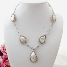 "GE082011 19"" White Keshi Pearl Chain Necklace"