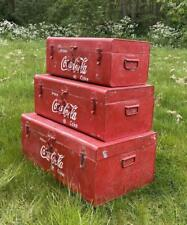 More details for coca cola set of 3 trunks - vintage retro style metal red advertising coke
