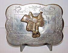 Vintage Western Cowboy Horse Saddle Belt Buckle Brass & Silvertone 1970's