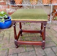 SMALL VINTAGE MAHOGANY OCCASIONAL TABLE OR DRESSING STOOL~GREEN VELVET