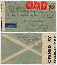 GB to BRAZIL WW2 CENSOR + T in HEXAGON AIRMAIL 1s + 3 x 1d 1941