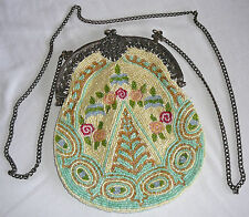 Victorian style totally beaded cream colored evening bag
