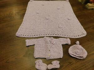 Crochet Baby Set Lot Blanket Sweater Hat Booties w flowers Infant Shower Gift