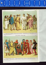 Ancient & Middle Ages Costumes & Fashion - Egyptian-Roman-French -- 1907 Print