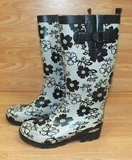 Auténtico Capelli Nueva York Size 6 Eeuu Negro & Goma Blanco Botas de Lluvia