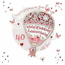 Ruby Anniversary 40th Laser Cut Air balloon Luxury Handmade Card by Talking Pics