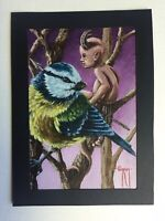 Edgar Shrum Original Fantasy Art Acrylic Painting, Wee Little Devil On Alert.