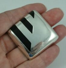 "Enamel Inlay Pin / Pendant Mexico Taxco Sterling Silver 1-1/4"" Square Black"