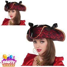 Pirate Ladies Lace Hat Fancy Dress Buccaneer Caribbean Costume Accessories