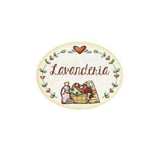 Targa legno Ovale con passamaneria LAVANDERIA casa Cuori Made Italy Idea Regalo