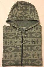 VOLCOM Zipper HOODIE Sweatshirt - Men's Large L (Gray Aztec Print) NWT