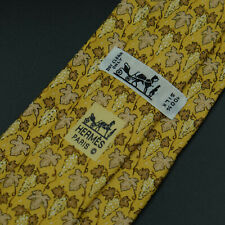 Hermes Paris Made In France Yellow Floral Pattern Silk Tie 7663 TA