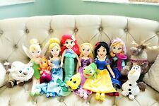 "HUGE LOT DISNEY STORE Princess Plush Doll 21""  Pets Ariel Rapunzel Snow White"