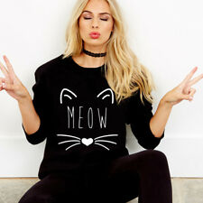 Women Cat Print Long Sleeve Girl Sweatshirt Tracksuit Hoodies Pullover Jumper LS S 6