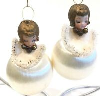 """Vintage Angels On White Satin Balls Ornaments Lot of 2 - 4"""""""