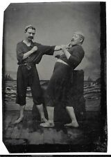 TINTYPE - 2 ( TWO ) MEN POSING AT BOXING  Bare Fists Knuckles