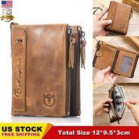BULLCAPTAIN Mens Zipper Genuine Leather Wallet Gents Credit Card Holder Purse US