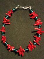 9 1/8 Genuine Real Coral beads/Teal Seed Bead Plus Sized Bracelet /Anklet