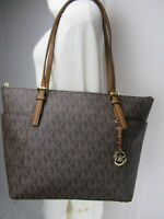 NWT Michael Kors PVC Jet Set Item EW Top Zip Tote Bag Brown/Luggage MK Signature