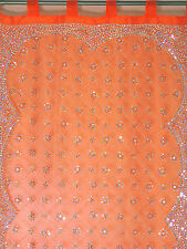 "Orange Curtain Panel - Zardozi Embroidered Beaded India Window Treatments 92"""