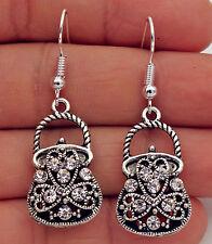 925 Silver Plated Hook-1.7'' Women Handbag Tote Opal Crystal Hollow Earrings #17