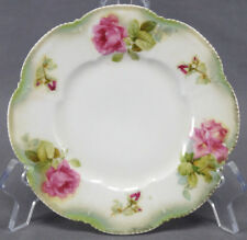 Set of 3 RS Germany / Prussia Pink Rose Mold 202 Bread Plates Circa 1910 - 56