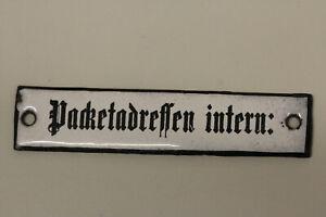 altes Emailleschild  Deutsche Post Reichspost Packetadressen inten Emailschild