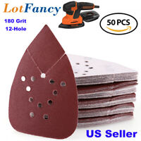 50Pcs 180 Grit Sanding Sheets Pads Sandpaper Mouse Palm Sander Paper Hook & Loop