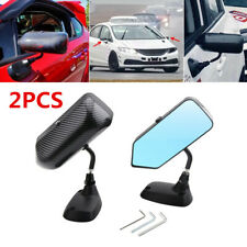 1 Pair Car Side Blue Rear View Mirror Metal Bracket Carbon Fiber Look F1 Style